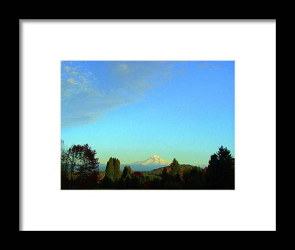 Mt. Hood Framed Print featuring the photograph Mt Hood just before sunset by Lisa Rose Musselwhite