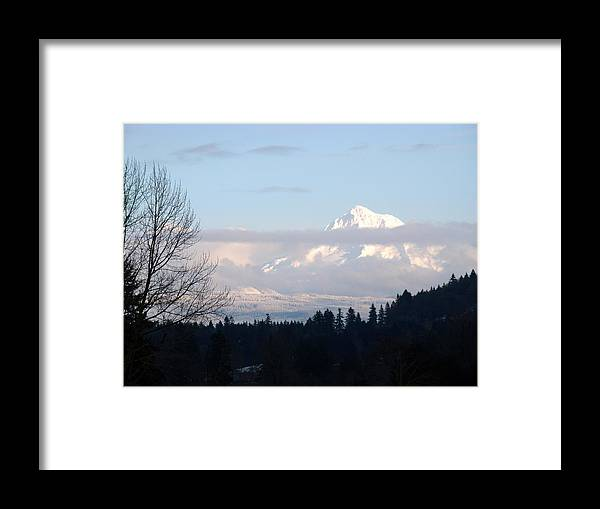 Mt Hood Oregon Framed Print featuring the photograph Mt Hoot in the snow by Lisa Rose Musselwhite