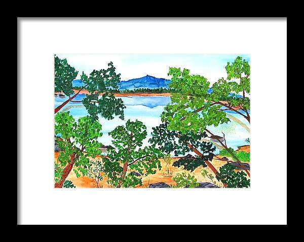 Landscape Framed Print featuring the painting Mt. Katahdin by Katina Cote
