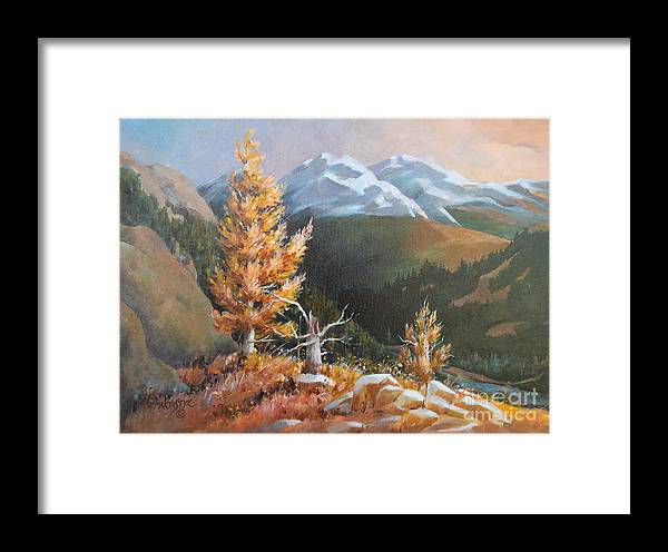 Landscape Framed Print featuring the painting Mt. Rainier 5 by Marta Styk
