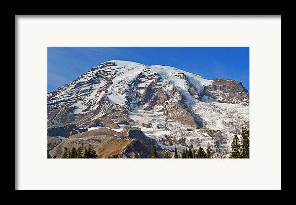 Mountains Framed Print featuring the photograph Mt. Rainier In The Fall by Larry Keahey