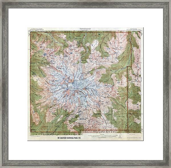 Mt Rainier Topographic Map.Mt Rainier Topographic Map 1915 Framed Print By Daniel Hagerman