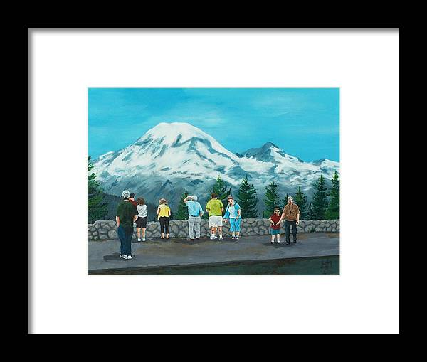 Landscape Framed Print featuring the painting Mt. Rainier Tourists by Gene Ritchhart