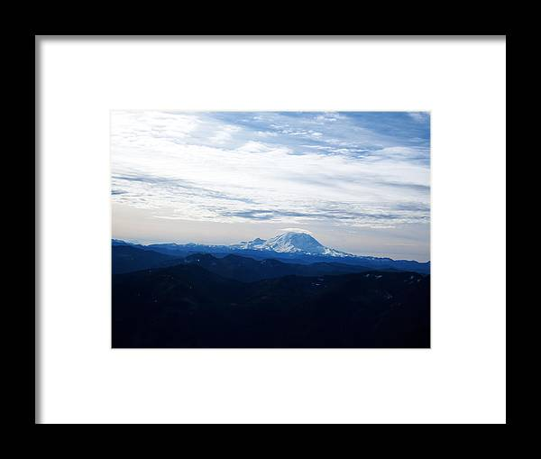 Landscape Framed Print featuring the photograph Mt Rainier Under Clouds by Kenneth Willis
