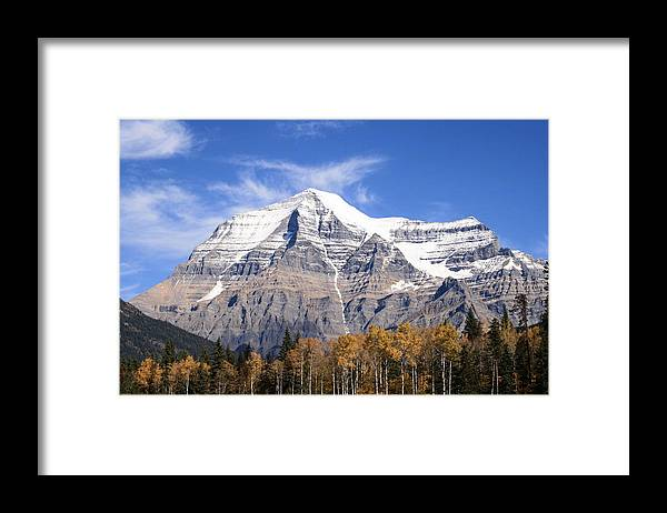 Rocky Mountain Framed Print featuring the photograph Mt. Robson- Canada's Tallest Peak by Tiffany Vest
