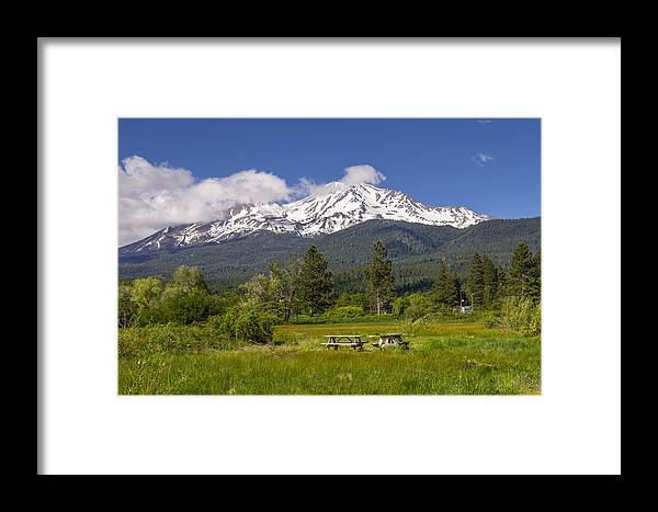 Agriculture Framed Print featuring the photograph Mt Shasta With Picnic Tables by John Trax