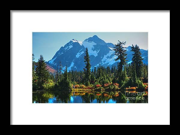 Mt. Shuksan Framed Print featuring the photograph Mt. Shuksan by Idaho Scenic Images Linda Lantzy