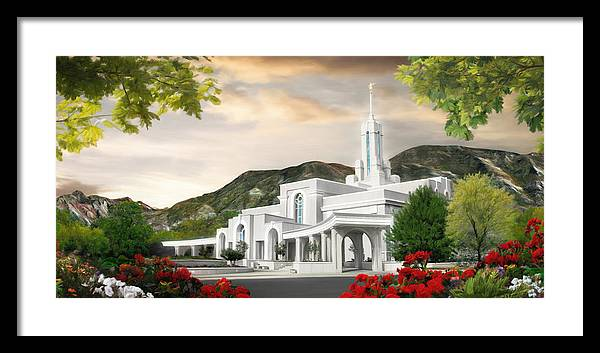 Mount Framed Print featuring the painting Mt. Timpanogos Temple #1 by Brent Borup