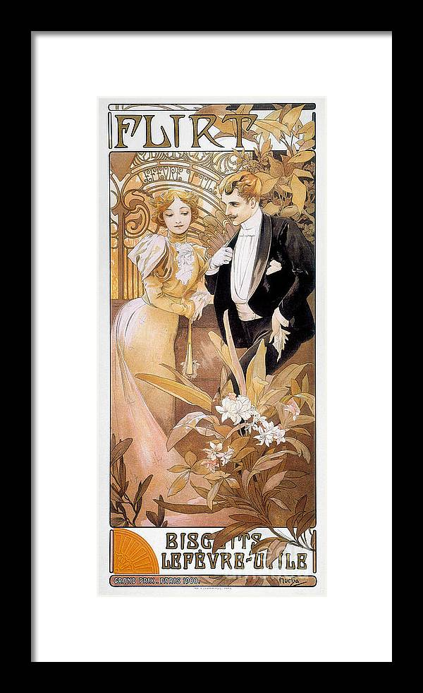 1895 Framed Print featuring the photograph Mucha: Biscuit Ad, C1895 by Granger