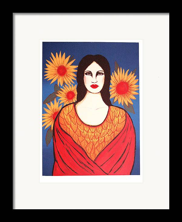 Laura Lopez Cano Framed Print featuring the print Mujer Con Flores by Laura Lopez Cano