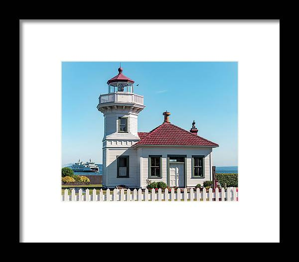 Mukilteo Framed Print featuring the photograph Mukilteo Lighthouse With Washington Ferry In Puget Sound by Open Range