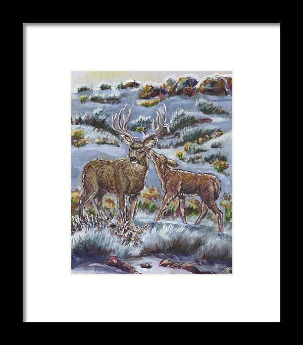 Animals Framed Print featuring the painting Mule Deer Lovers From River Mural by Dawn Senior-Trask