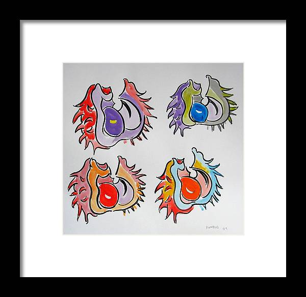 Concer Framed Print featuring the painting Multicolored Conkers by Vitali Komarov