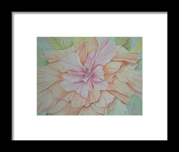 Flower Framed Print featuring the painting Multipetaled Pink Coral Hibiscus by Hilda and Jose Garrancho