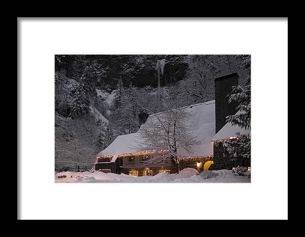 Multnomah Falls Christmas Framed Print featuring the photograph Multnomah Falls Christmas by Wes and Dotty Weber