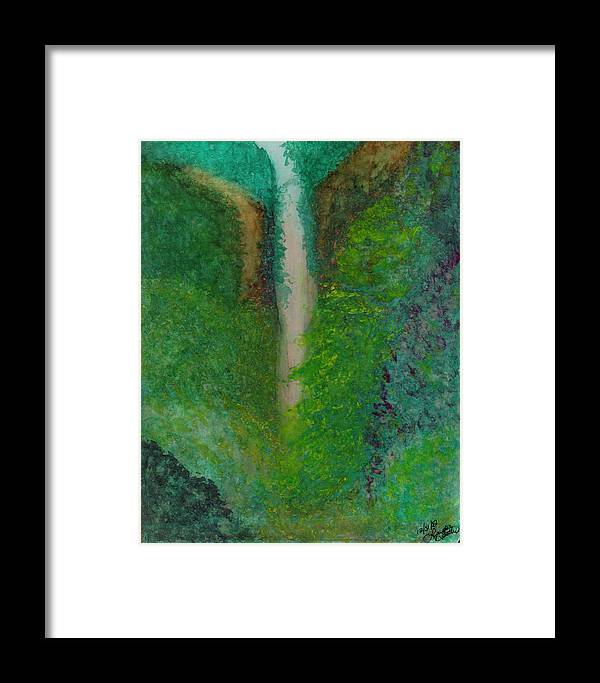 Framed Print featuring the painting Multnomah Falls by Lynnette Jones