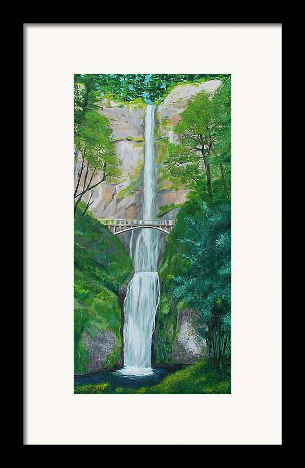 Landscape Framed Print featuring the painting Multonomah Falls by Gene Ritchhart