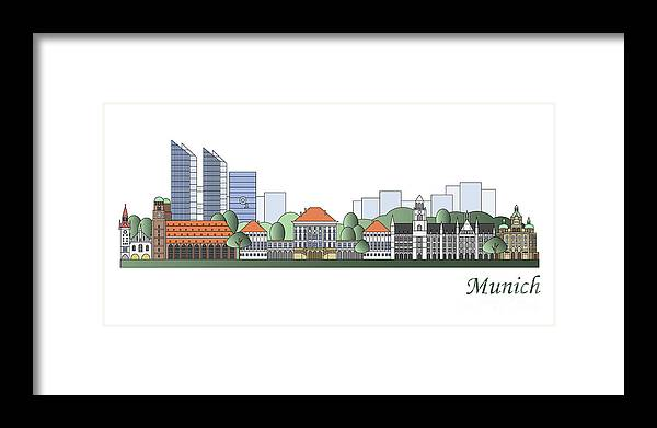 Munich Framed Print featuring the painting Munich Skyline Colored by Pablo Romero