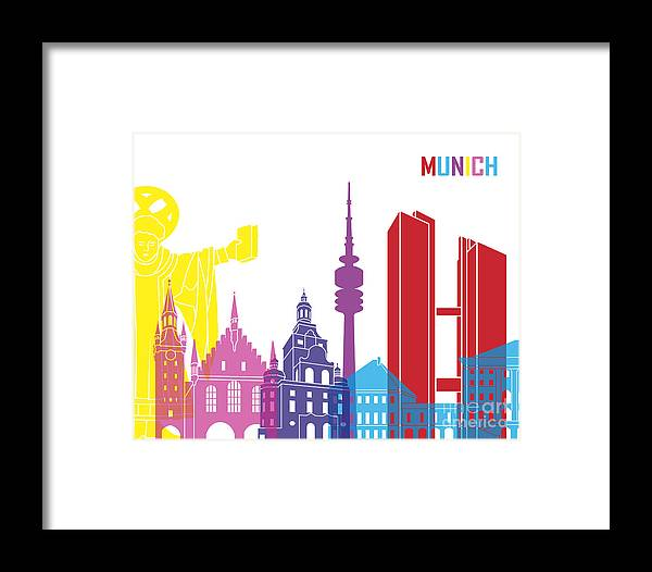 Munich Framed Print featuring the painting Munich Skyline Pop by Pablo Romero
