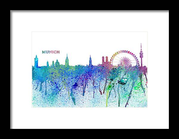 Munich Travel Poster Framed Print featuring the mixed media Munich Skyline Silhouette An Impressionistic Splash - Dream Cities Series by M Bleichner