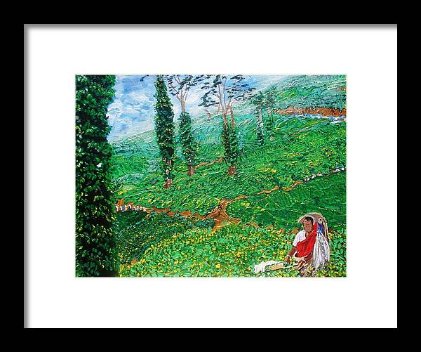 Tea Framed Print featuring the painting Munnar Tea Gardens by Narayan Iyer