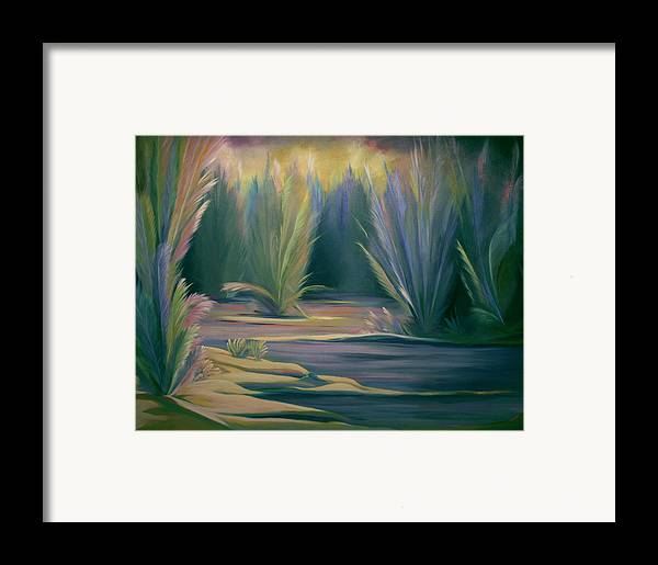 Feathers Framed Print featuring the painting Mural Field Of Feathers by Nancy Griswold