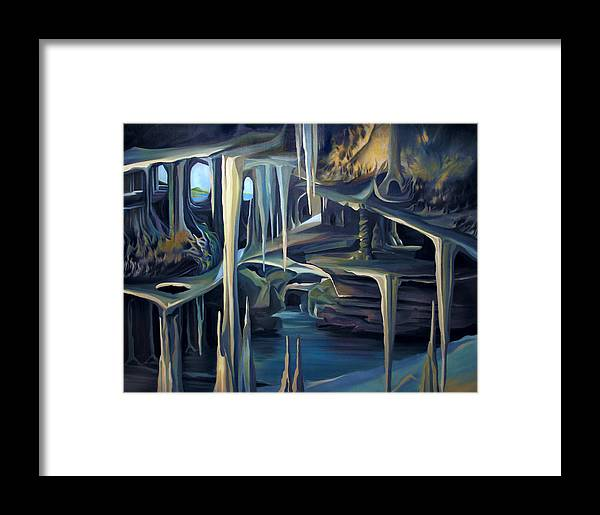 Mural Framed Print featuring the painting Mural Ice Monks In November by Nancy Griswold
