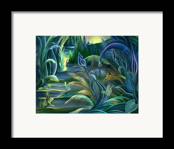 Mural Framed Print featuring the painting Mural Insects Of Enchanted Stream by Nancy Griswold