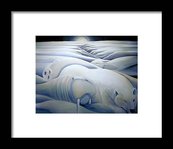 Mural Framed Print featuring the painting Mural Winters Embracing Crevice by Nancy Griswold
