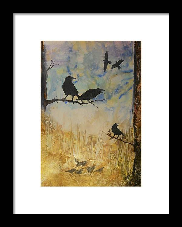 Birds Framed Print featuring the painting Murder Of Crows by John Vandebrooke