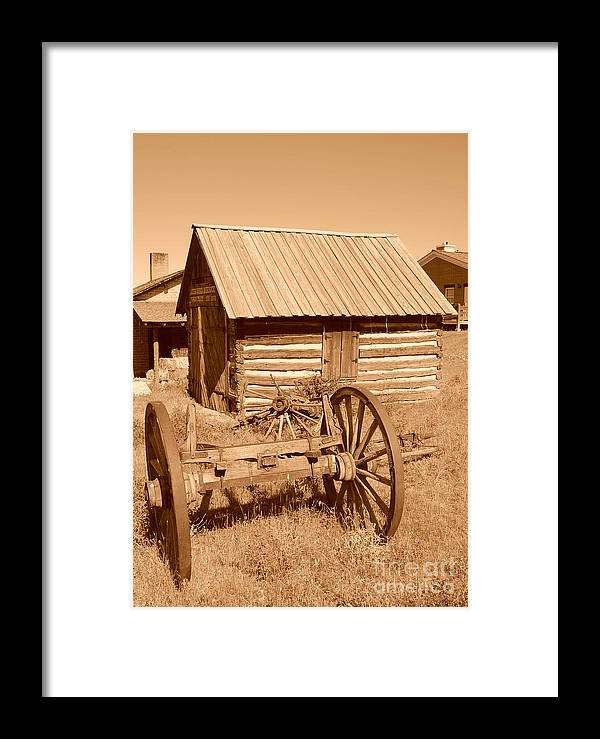 Sepia Framed Print featuring the photograph Murdock Carriage House - Circa 1800's by Dennis Hammer