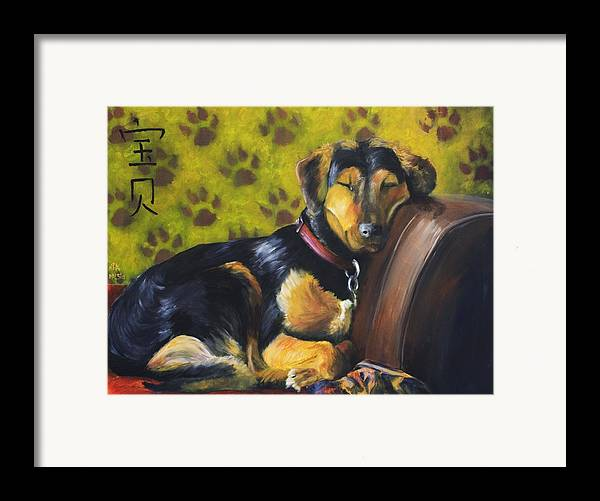 Dog Framed Print featuring the painting Murphy Vi Sleeping by Nik Helbig