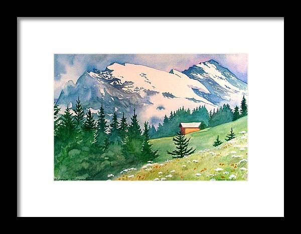 Murren Framed Print featuring the painting Murren Switzerland by Scott Nelson