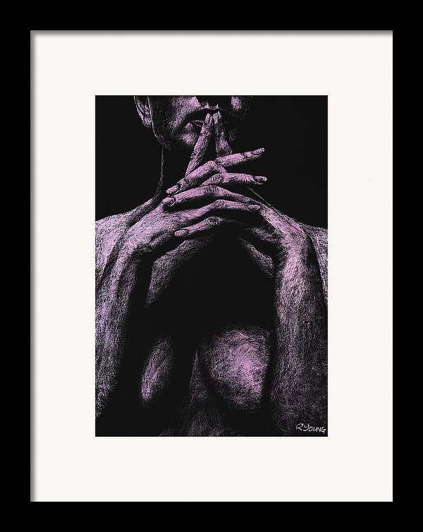 Nude Framed Print featuring the pastel Museful by Richard Young