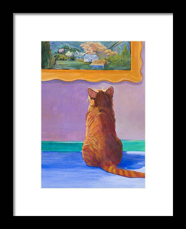 Animal Framed Print featuring the painting Museum Cat 2 by Jimmie Trotter