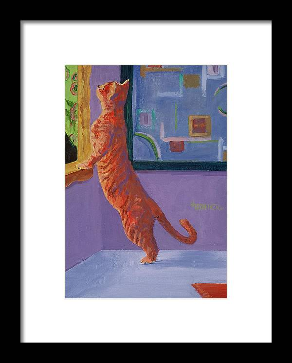 Animal Framed Print featuring the painting Museum Cat by Jimmie Trotter