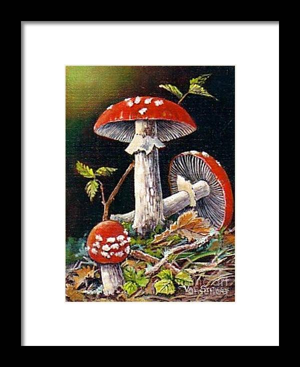Mushrooms Framed Print featuring the painting Mushroom Magic by Val Stokes