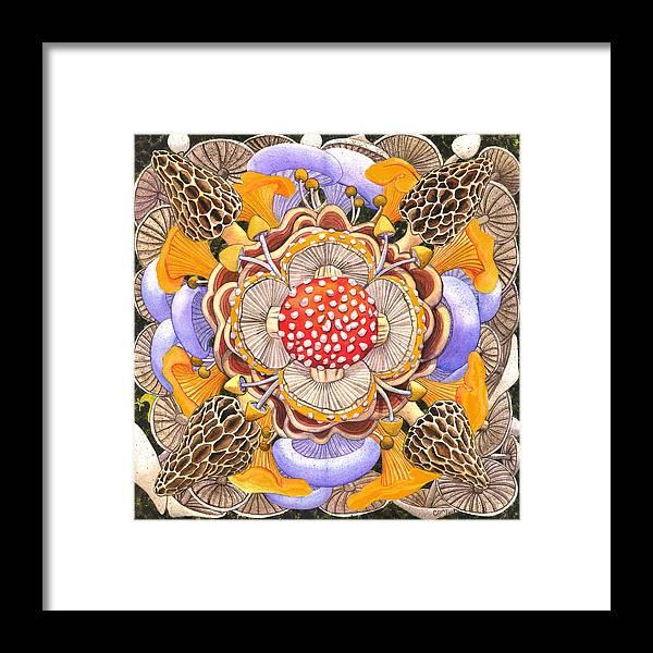 Mushrooms Framed Print featuring the painting Mushroom Mandala by Catherine G McElroy