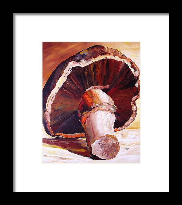 Mushroom Framed Print featuring the painting Mushroom Still Life by Toni Grote