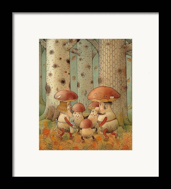 Mushrooms Landscape Forest Autumn Framed Print featuring the painting Mushrooms by Kestutis Kasparavicius