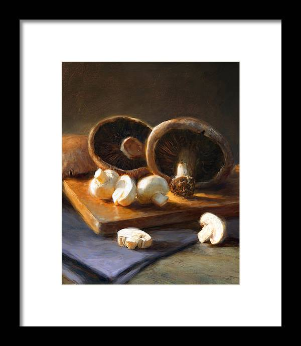 Mushrooms Framed Print featuring the painting Mushrooms by Robert Papp