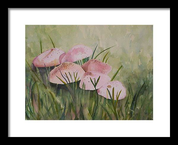 Landscape Framed Print featuring the painting Mushrooms by Suzanne Udell Levinger