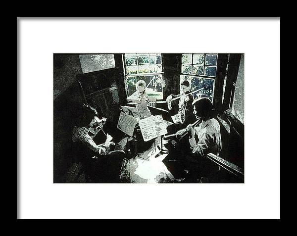 String Quartet Framed Print featuring the mixed media Music As Light by Randy Sprout