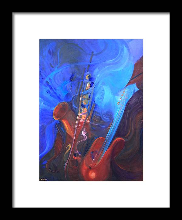 Abstract Framed Print featuring the painting Music For Saxy by Gail Salitui