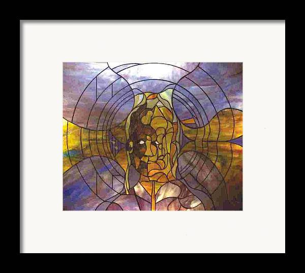 Portrait Framed Print featuring the glass art Music by Greg Gierlowski