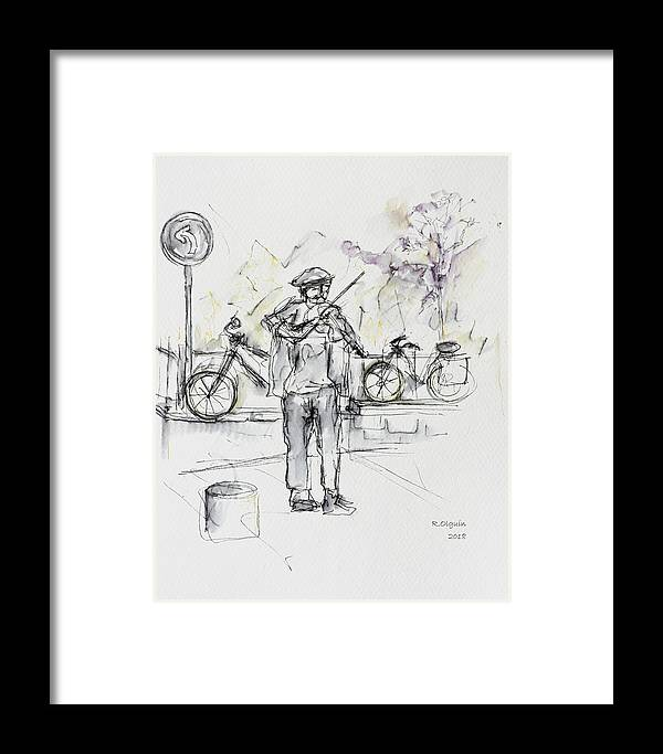 Urban Sketching Framed Print featuring the drawing Music In Paris by Rocio Olguin
