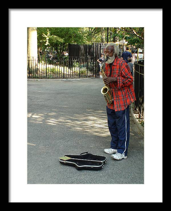 Graffiti Framed Print featuring the photograph Music In Tompkins Square by Joseph Cusano IV