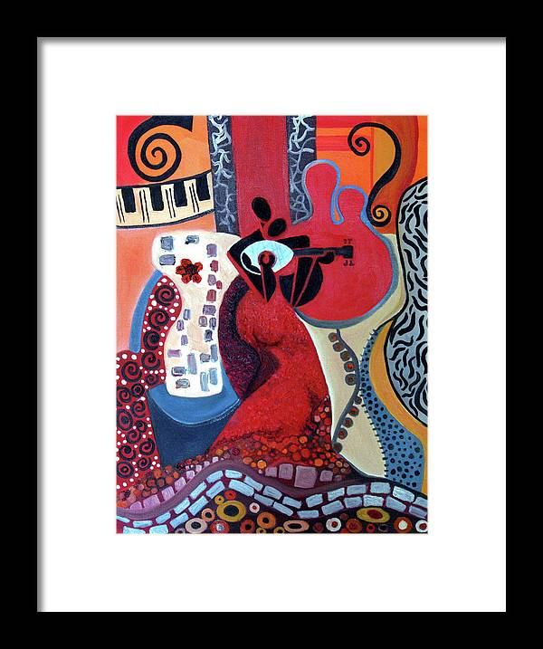 Musical Instruments Figurative Cubist Abstract Framed Print featuring the painting Music Is Love by Niki Sands