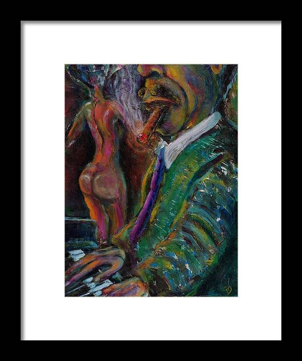 Man Framed Print featuring the painting Music Lover And A Fine Cigar by Dennis Tawes