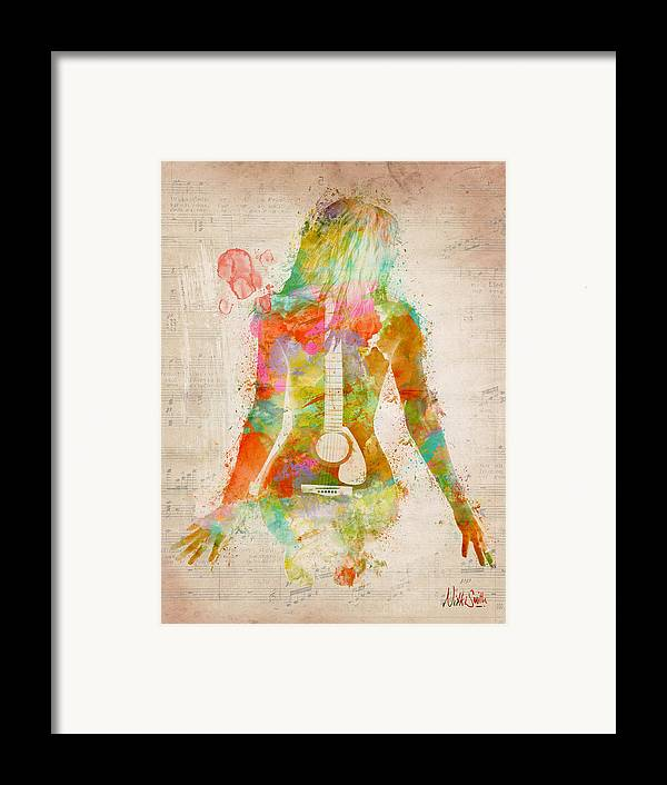 Guitar Framed Print featuring the digital art Music Was My First Love by Nikki Marie Smith